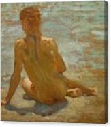 Sketch Of Nude Youth Study For Morning Spelendour Canvas Print