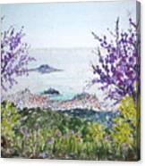 Skiathos Town And Judas Trees Canvas Print