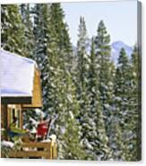 Skiers On Balcony Of Ski Lodge Prepare Canvas Print