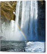 Skogafoss Waterfall Iceland In Winter Canvas Print