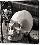Skull And Skeleton Key Canvas Print