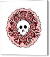 Skull Mandala Pink Canvas Print