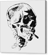 Skull Smoking A Cigarette Canvas Print