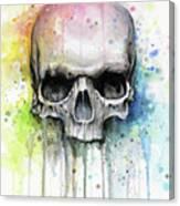 Skull Watercolor Rainbow Canvas Print