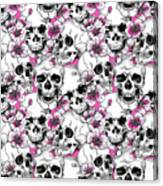Skulls And Red Flowers Canvas Print