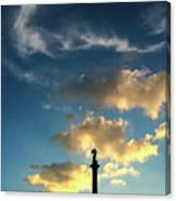 Sky Clouds And Statue In Stuttgart Germany Canvas Print