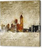 skyline of Atlanta in modern and abstract vintage-look Canvas Print