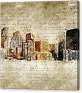 skyline of Denver in modern and abstract vintage-look Canvas Print