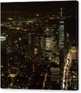 Skyline Of New York City - Lower Manhattan Night Aerial Canvas Print