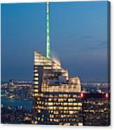 Skyscraper Lit Up At Night, One World Canvas Print