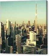 Skyscrapers Of Dubai At Sunset Canvas Print