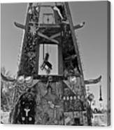 Slab City Museum Tower Bw Canvas Print