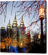Slc Temple Lights Lamp Canvas Print