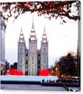 Slc Temple Red And White Canvas Print