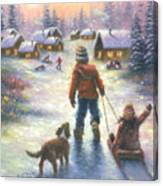 Sledding To The Village Canvas Print