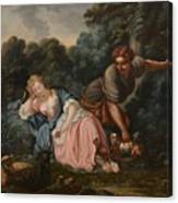 Sleeping Maiden In A Woodland Landscape Canvas Print