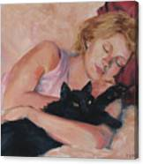 Sleeping With Fur Canvas Print