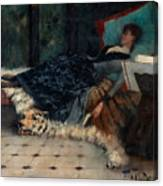Sleeping Woman With A Book Canvas Print