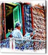 Slice Of Life Sunny Sunday Morning Newspaper India Rajasthan Udaipur 2a Canvas Print