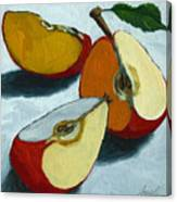 Sliced Apple still life oil painting Canvas Print