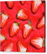Sliced Red Strawberry Background Canvas Print
