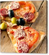 Slices Of Homemade Pizza With Salami Canvas Print