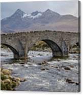 Sligachen Bridge And The Black Cullin, Isle Of Skye Canvas Print