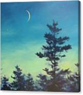 Sliver Moon And Pines Canvas Print