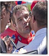 S.loeb 2 Minutes After Winning Wrc Rally Bulgaria 2010 Canvas Print