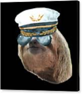 Sloth Aviator Glasses Captain Hat Sloths In Clothes Canvas Print