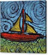 Small Boat With Yellow Sail Canvas Print
