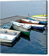 Small Boats Docked To A Pier Canvas Print