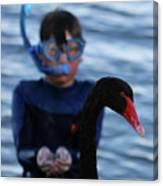 Small Human Meets Black Swan Canvas Print