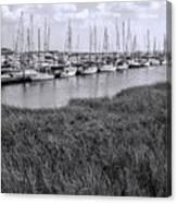 Small Sailboat Harbor Monochrome  Canvas Print