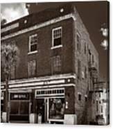 Small Town Shops - Sepia Canvas Print