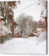 Small Village In Sweden In Lots Of Snow Canvas Print