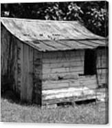 Small White Barn B W Canvas Print