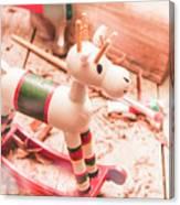 Small Xmas Reindeer On Wood Shavings In Workshop Canvas Print
