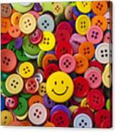 Smiley Face Button Canvas Print
