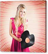 Smiling Dj Woman In Love With Retro Music Canvas Print