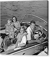 Smiling Family In Docked Boat, C.1960s Canvas Print