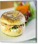 Smoked Salmon And Cream Cheese Bagel Canvas Print