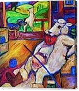 Smoko At The Sheep Shearing Shed Canvas Print
