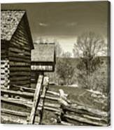 Smoky Mt Homestead - B W Canvas Print