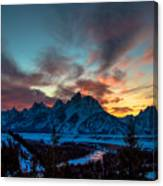 Snake River And Tetons At Sunset Canvas Print