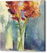 Snapdragons In Morning Light Floral Watercolor Canvas Print