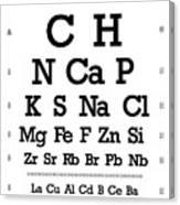 Snellen Chart - Chemical Abundance In Human Body Canvas Print
