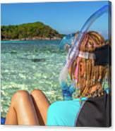 Snorkeler Relaxing On Tropical Beach Canvas Print
