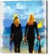 Snorkeler Twins  Canvas Print