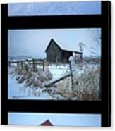 Snow And Barn Trio Canvas Print